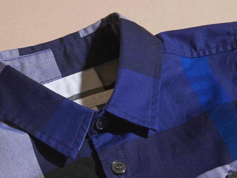 Bright navy blue Washed Check Cotton Shirt - cell image 1