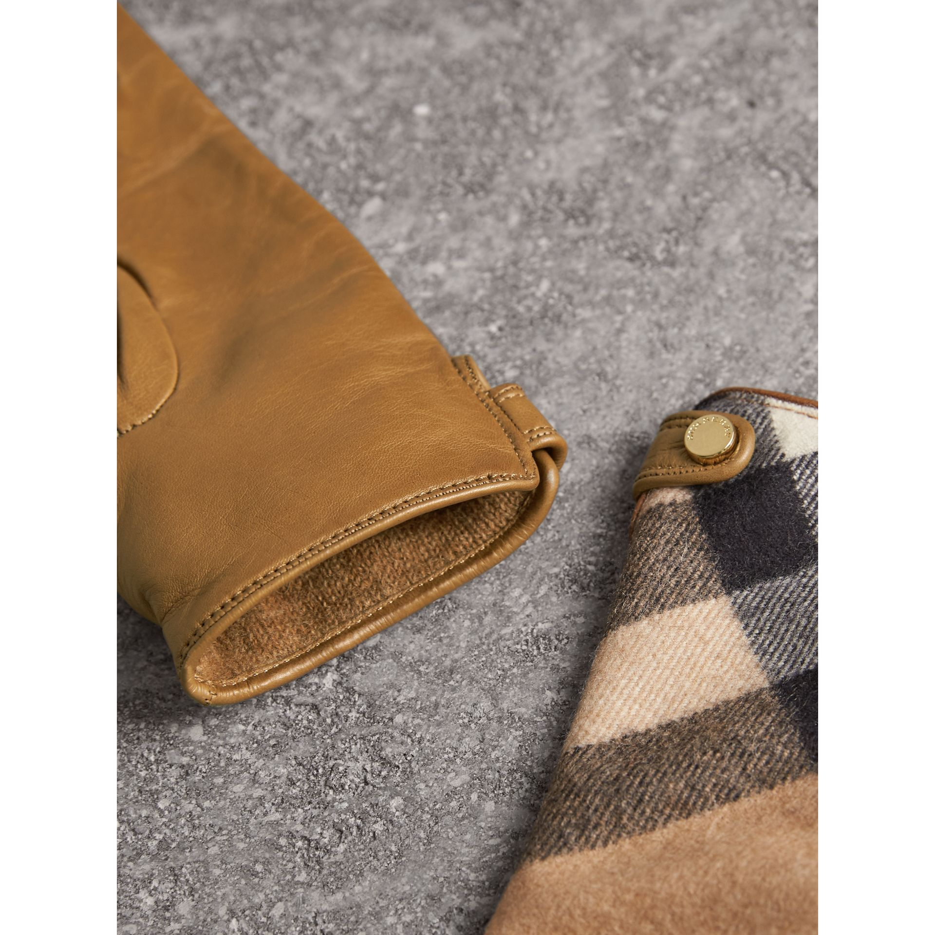 Leather and Check Cashmere Gloves in Camel - Women | Burberry - gallery image 2