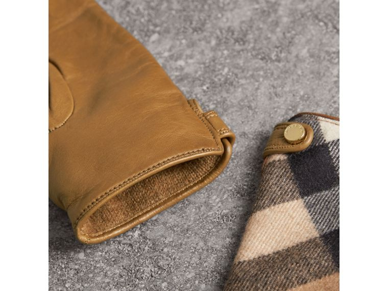 Leather and Check Cashmere Gloves in Camel - Women | Burberry - cell image 2