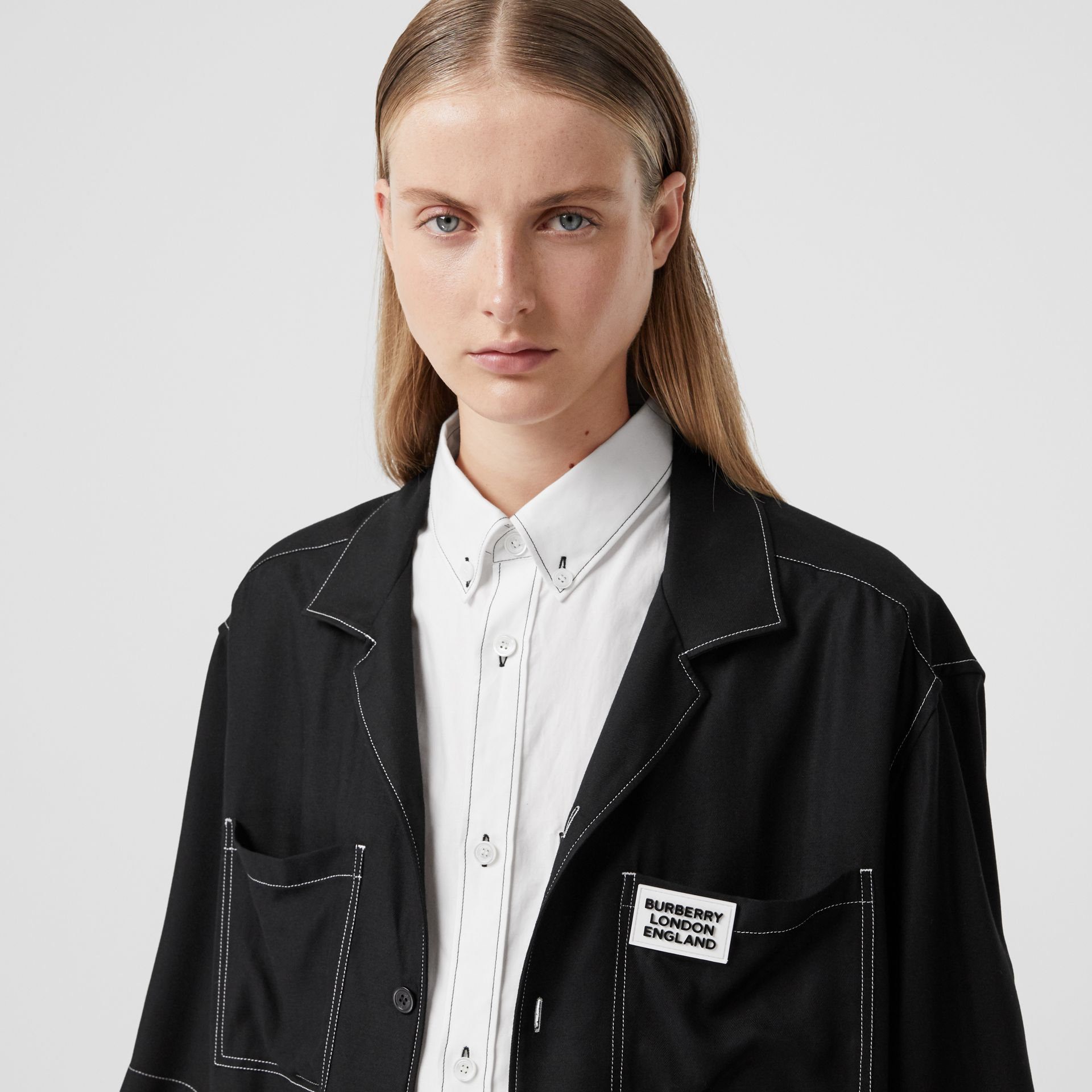 Logo Appliqué Oversized Double Shirt in Optic White - Women | Burberry - gallery image 1