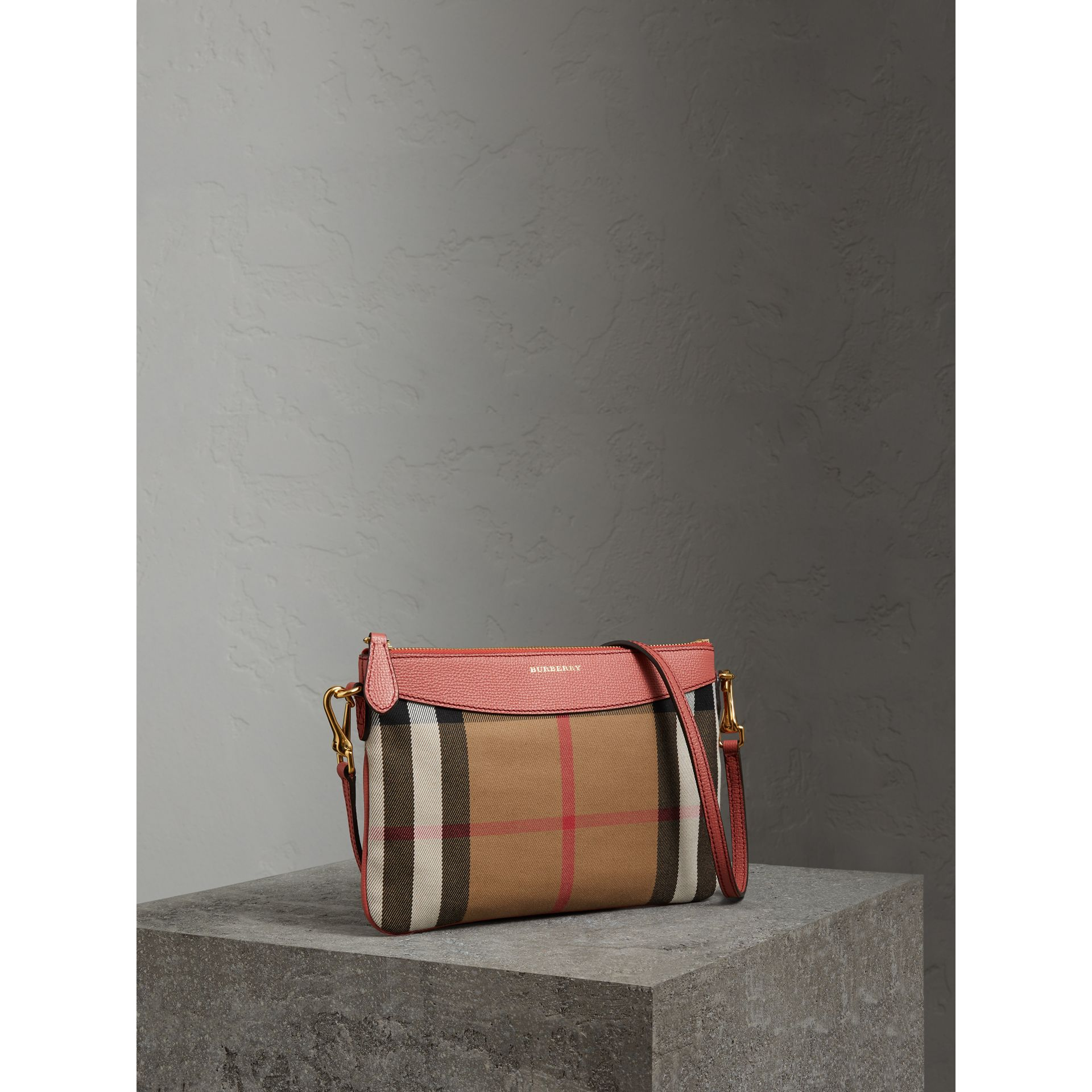 House Check and Leather Clutch Bag in Cinnamon Red - Women | Burberry Australia - gallery image 6