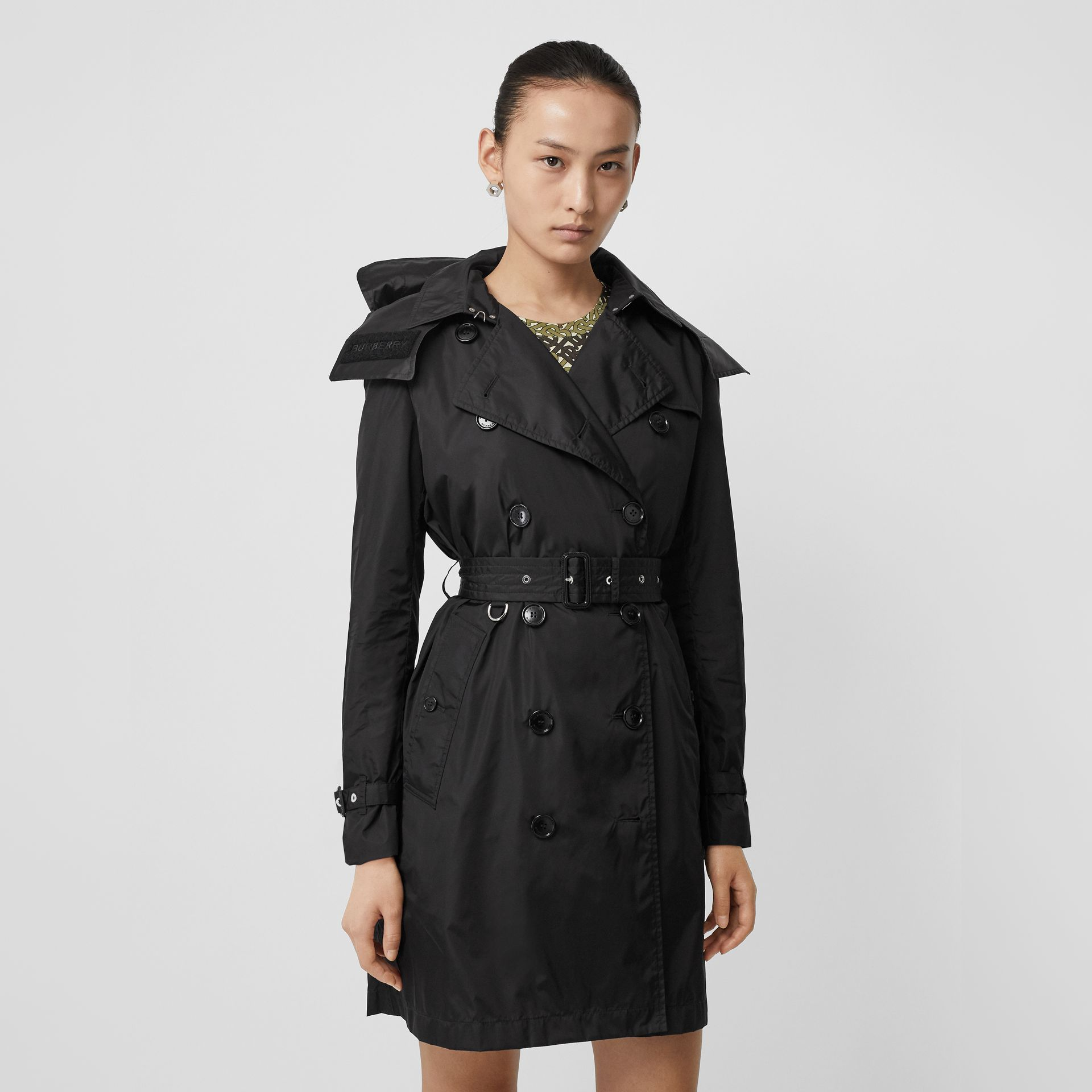 Detachable Hood ECONYL® Trench Coat in Black - Women | Burberry - gallery image 0