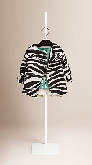 Zebra Print Collarless Linen Cotton Cocoon Coat