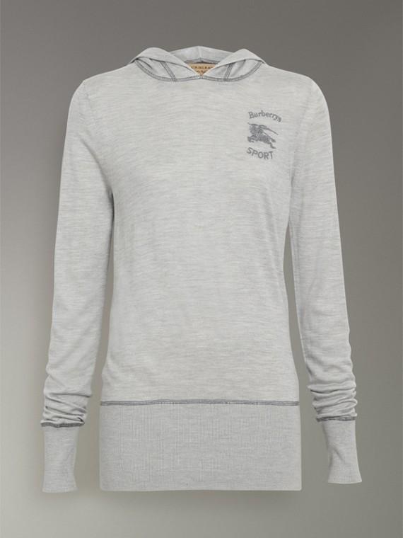 Sweat-shirt à capuche en soie et cachemire brodé (Anthracite) - Femme   Burberry Canada - cell image 3