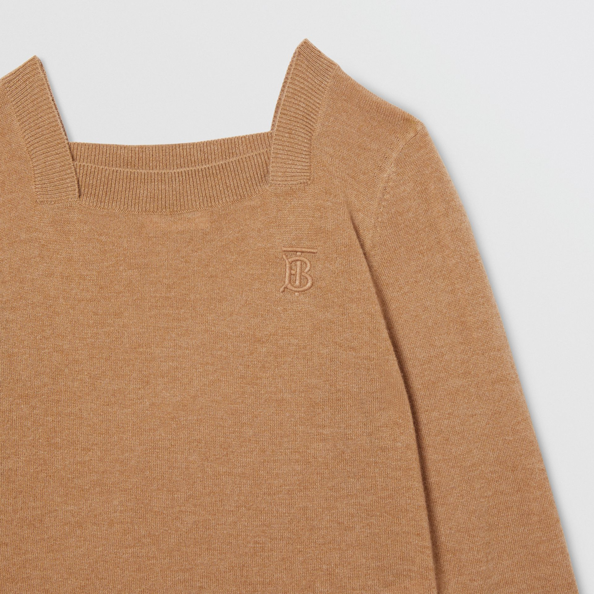 Monogram Motif Cashmere Sweater in Camel | Burberry - gallery image 5