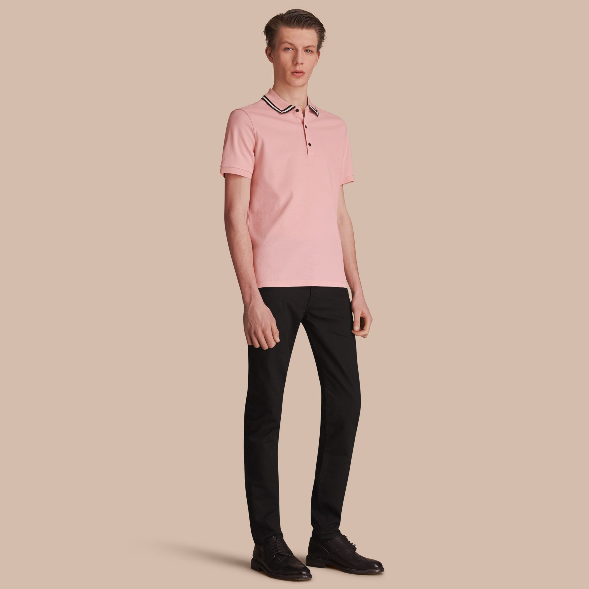 Striped Collar Cotton Piqué Polo Shirt in Chalk Pink - Men | Burberry Australia - gallery image 1