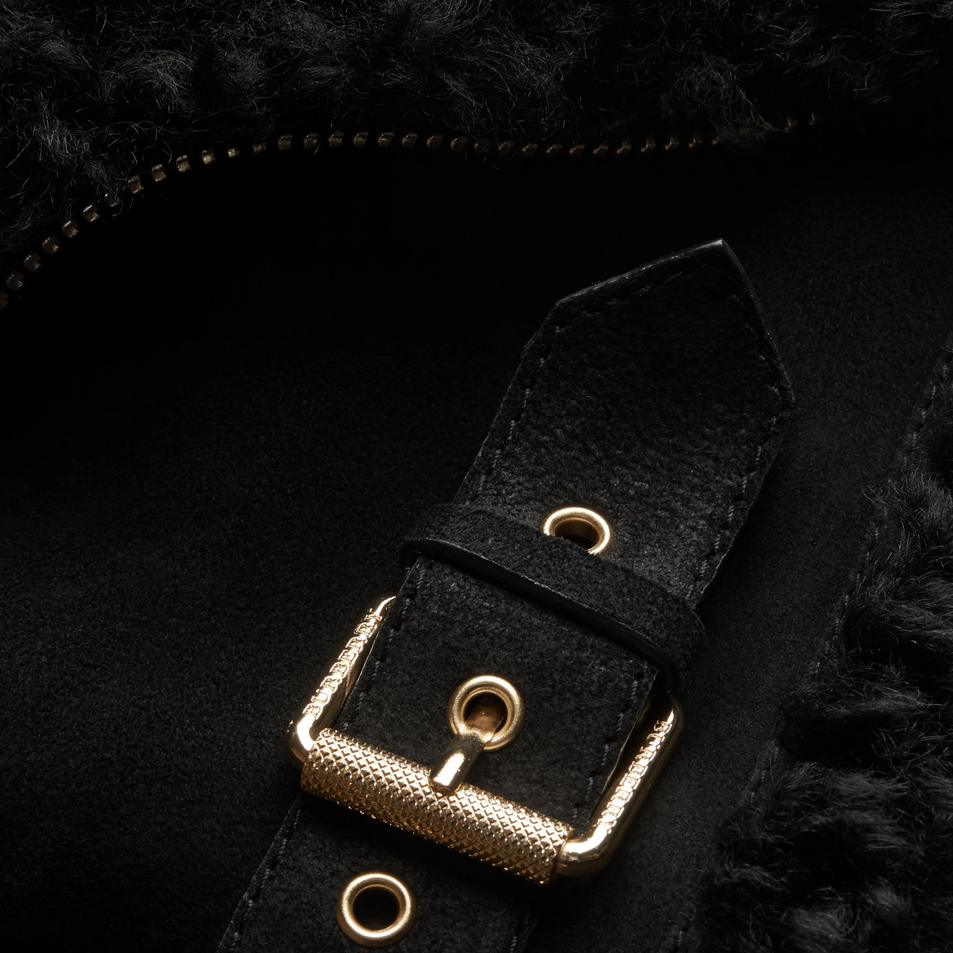 Black Shearling Biker Gilet Black - gallery image 2