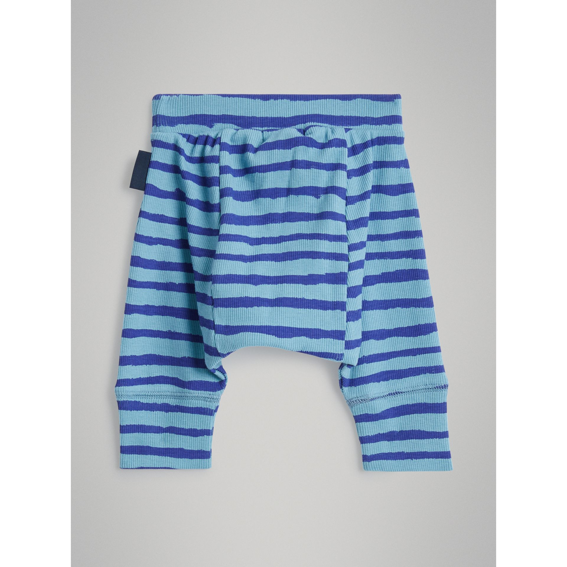 Striped Cotton Two-piece Baby Gift Set in Teal | Burberry - gallery image 7