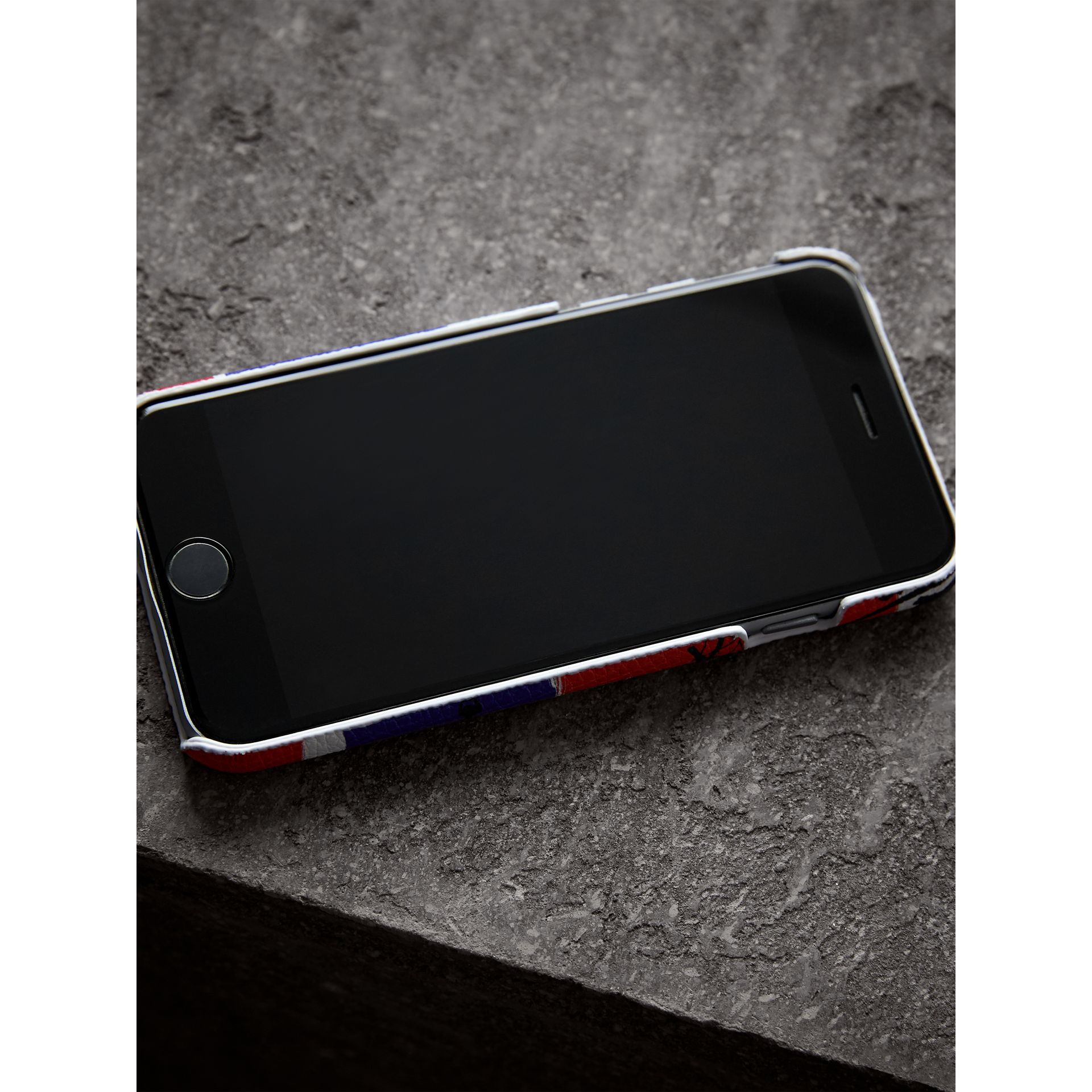Doodle Print Leather iPhone 7 Case in Red/blue | Burberry - gallery image 2