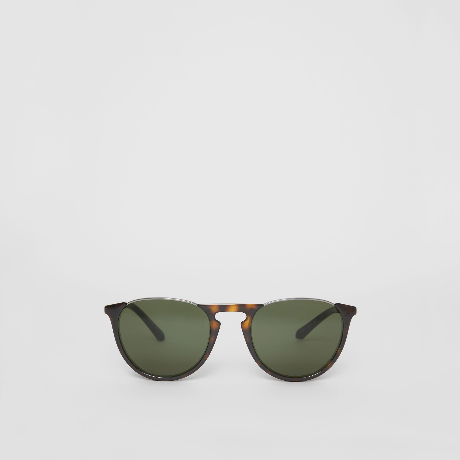 Keyhole Pilot Round Frame Sunglasses in Tortoise Shell - Men | Burberry - gallery image 0