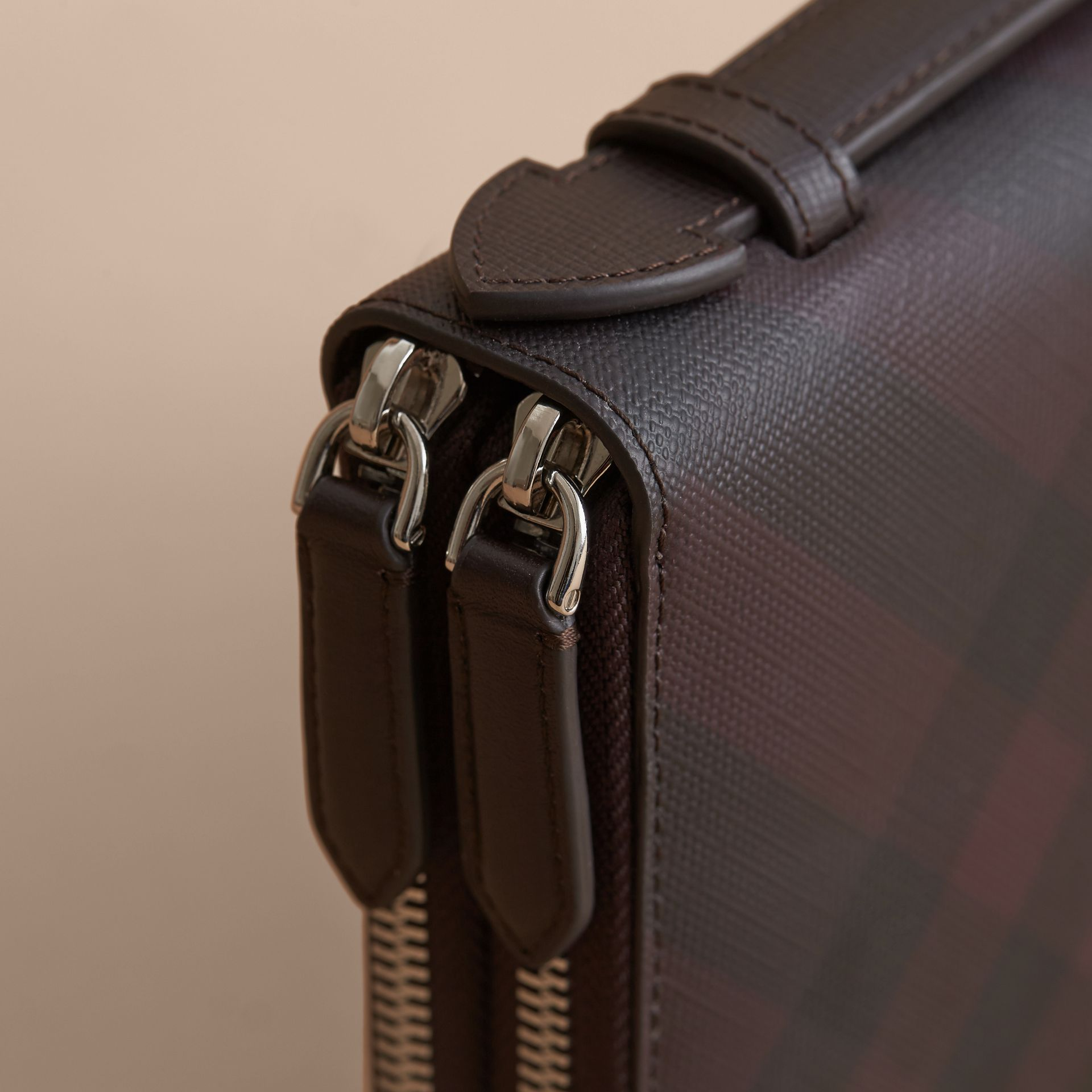 London Check Travel Wallet in Deep Claret - Men | Burberry - gallery image 2