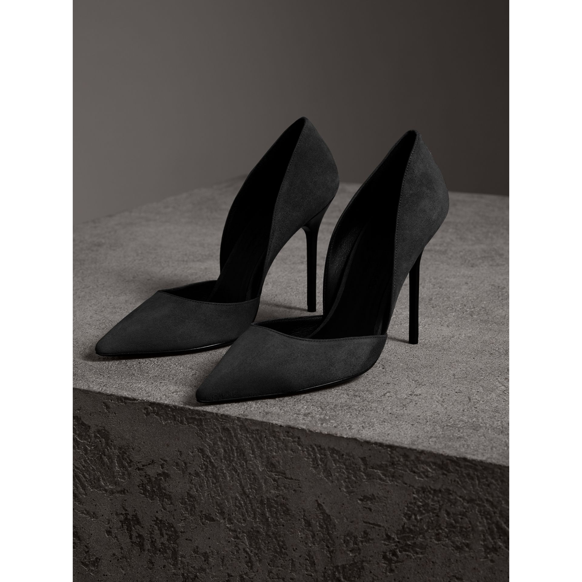 Cutaway Suede Pumps in Black - Women | Burberry - gallery image 4