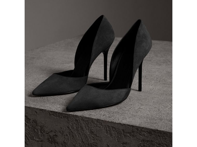 Cutaway Suede Pumps in Black - Women | Burberry - cell image 4