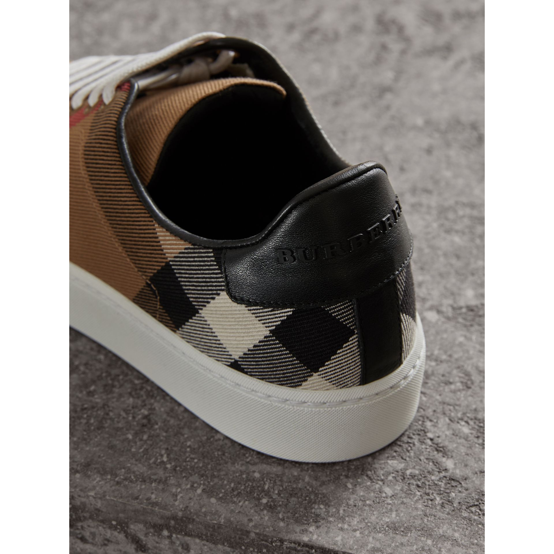 House Check and Leather Sneakers in Classic - Women | Burberry - gallery image 1