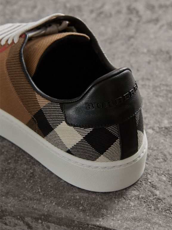 House Check and Leather Sneakers in Classic - Women | Burberry United States - cell image 1