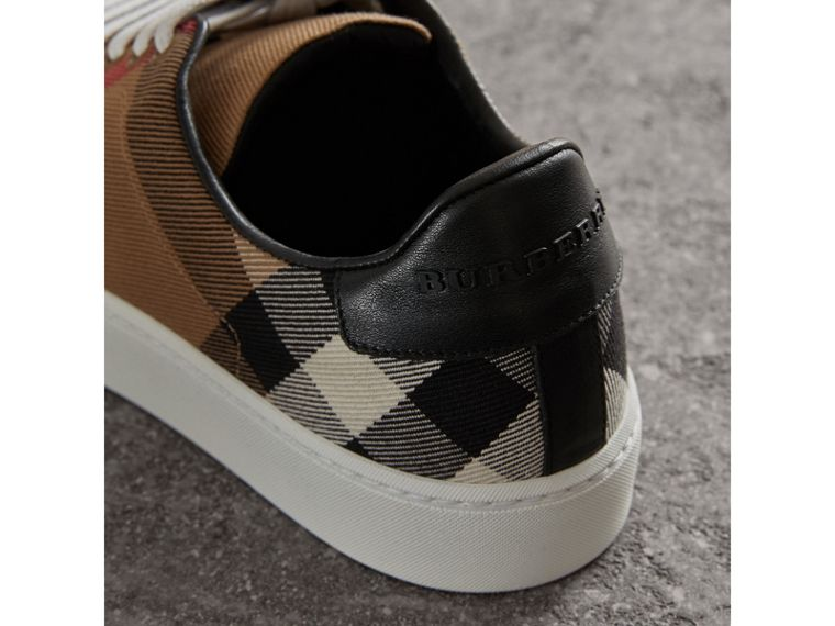 House Check and Leather Sneakers in Classic - Women | Burberry - cell image 1