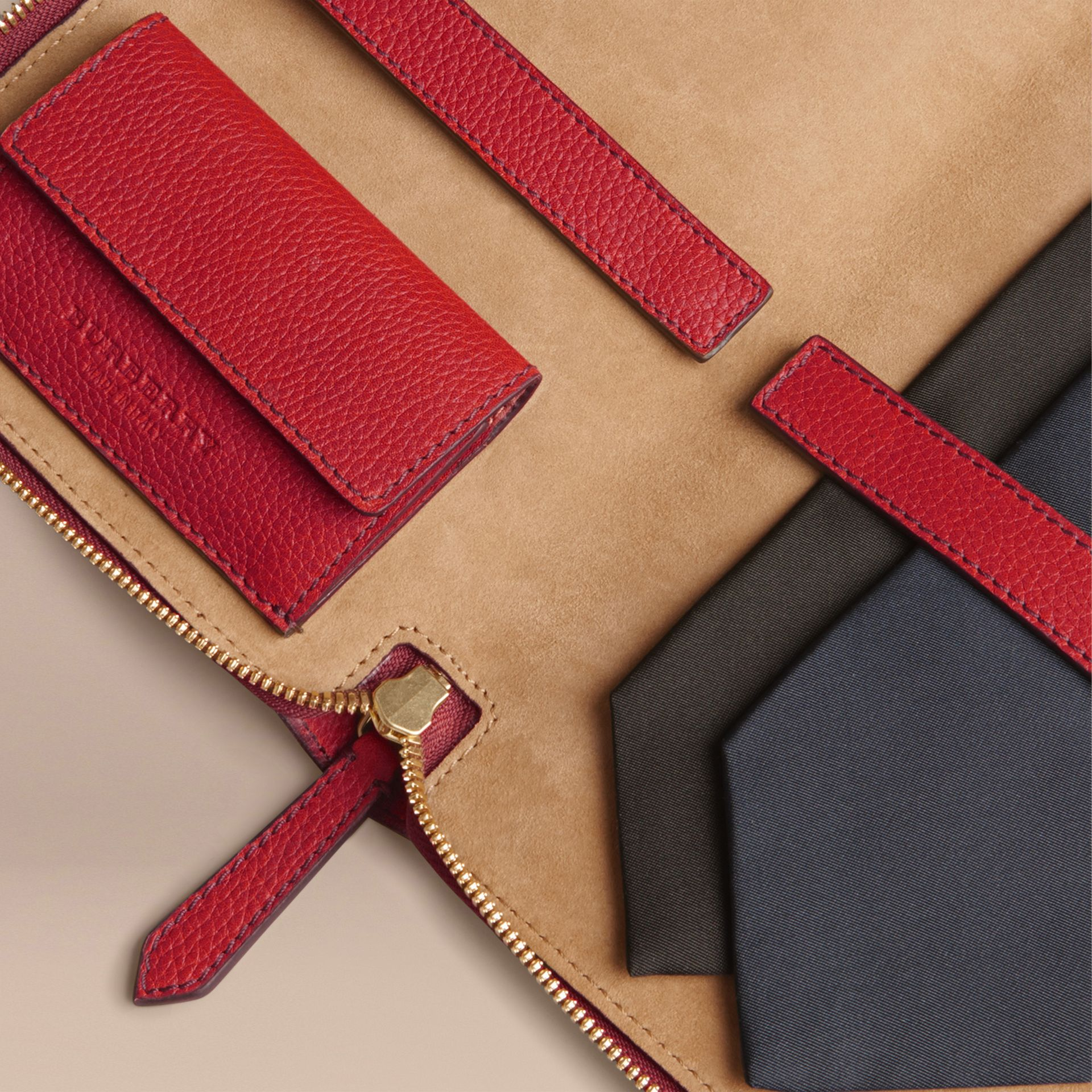 Grainy Leather Tie Case in Parade Red - Men | Burberry Australia - gallery image 3