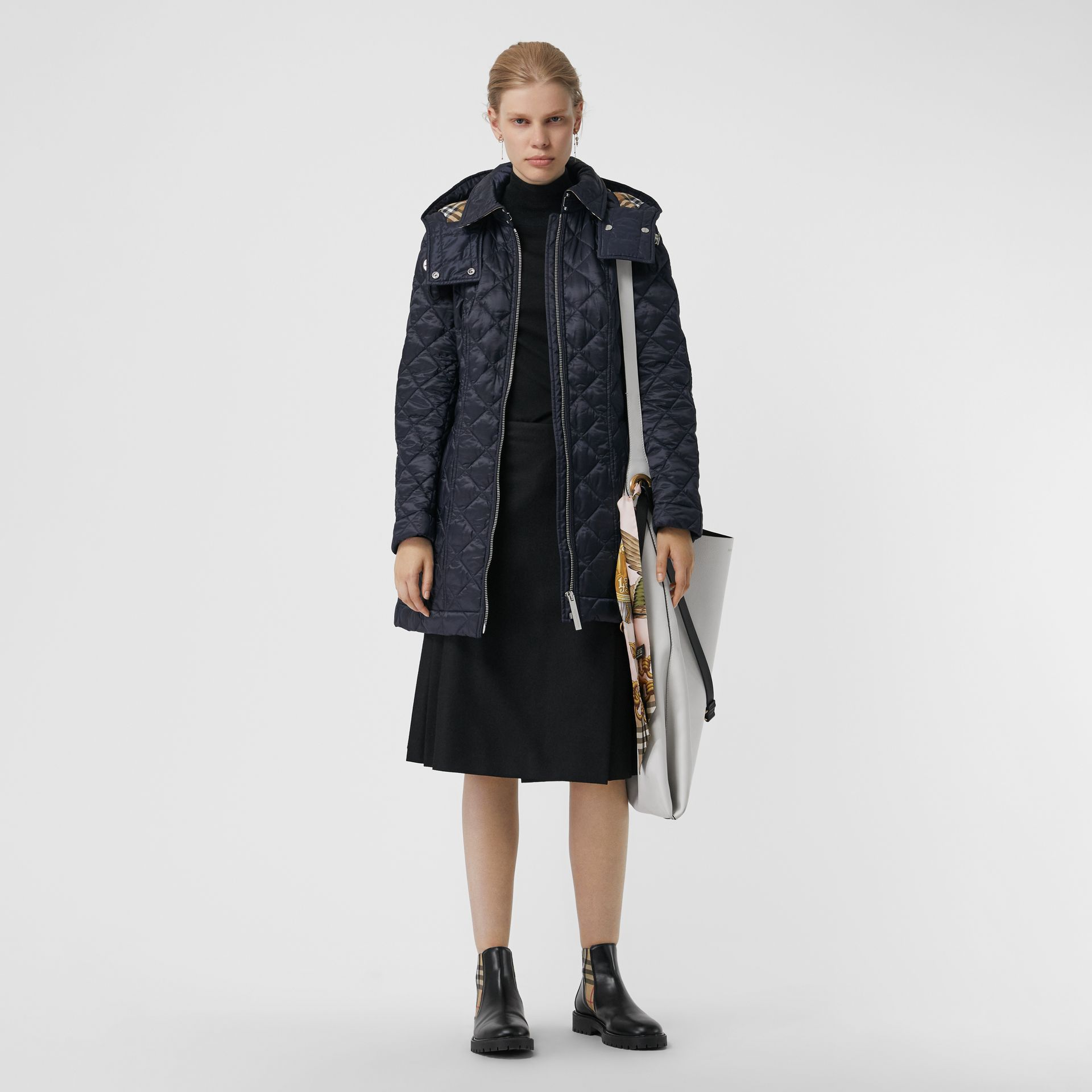 Detachable Hood Lightweight Diamond Quilted Coat in Ink - Women | Burberry - gallery image 0