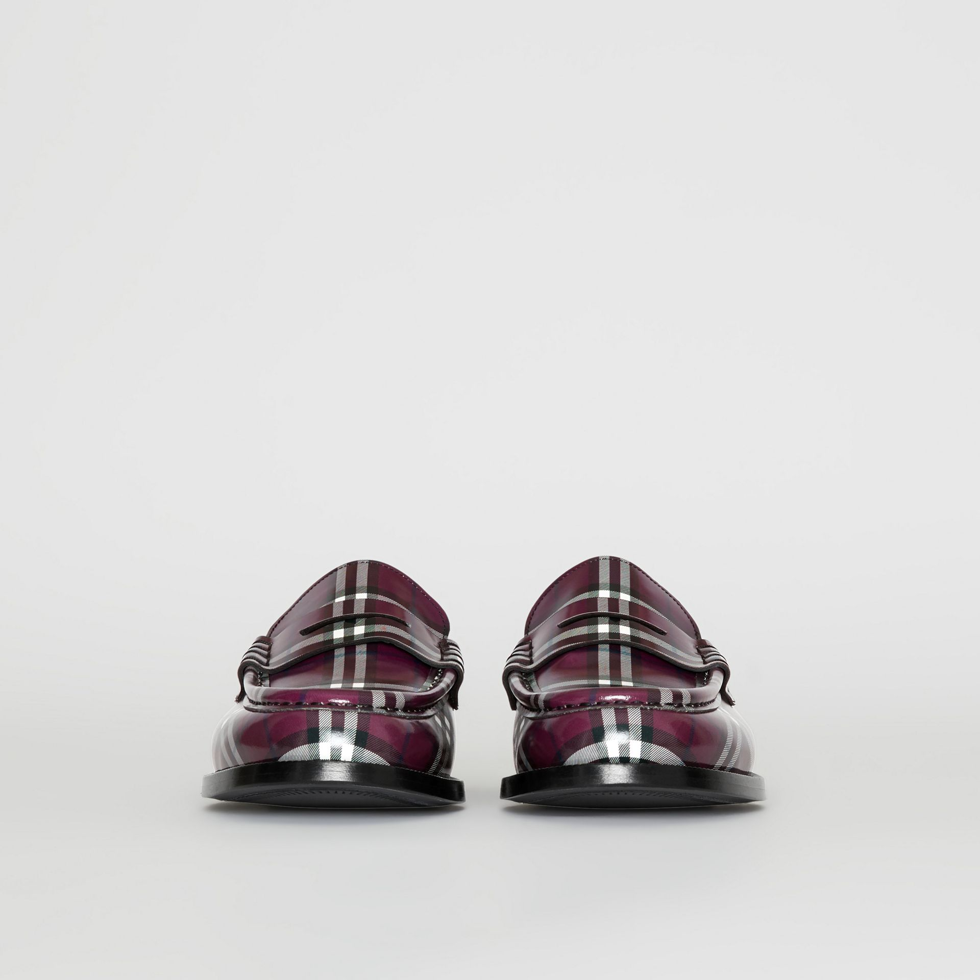 Gosha x Burberry Check Leather Loafers in Claret - Men | Burberry - gallery image 4