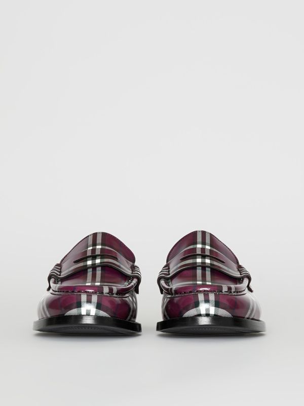 Gosha x Burberry Check Leather Loafers in Claret - Men | Burberry - cell image 3