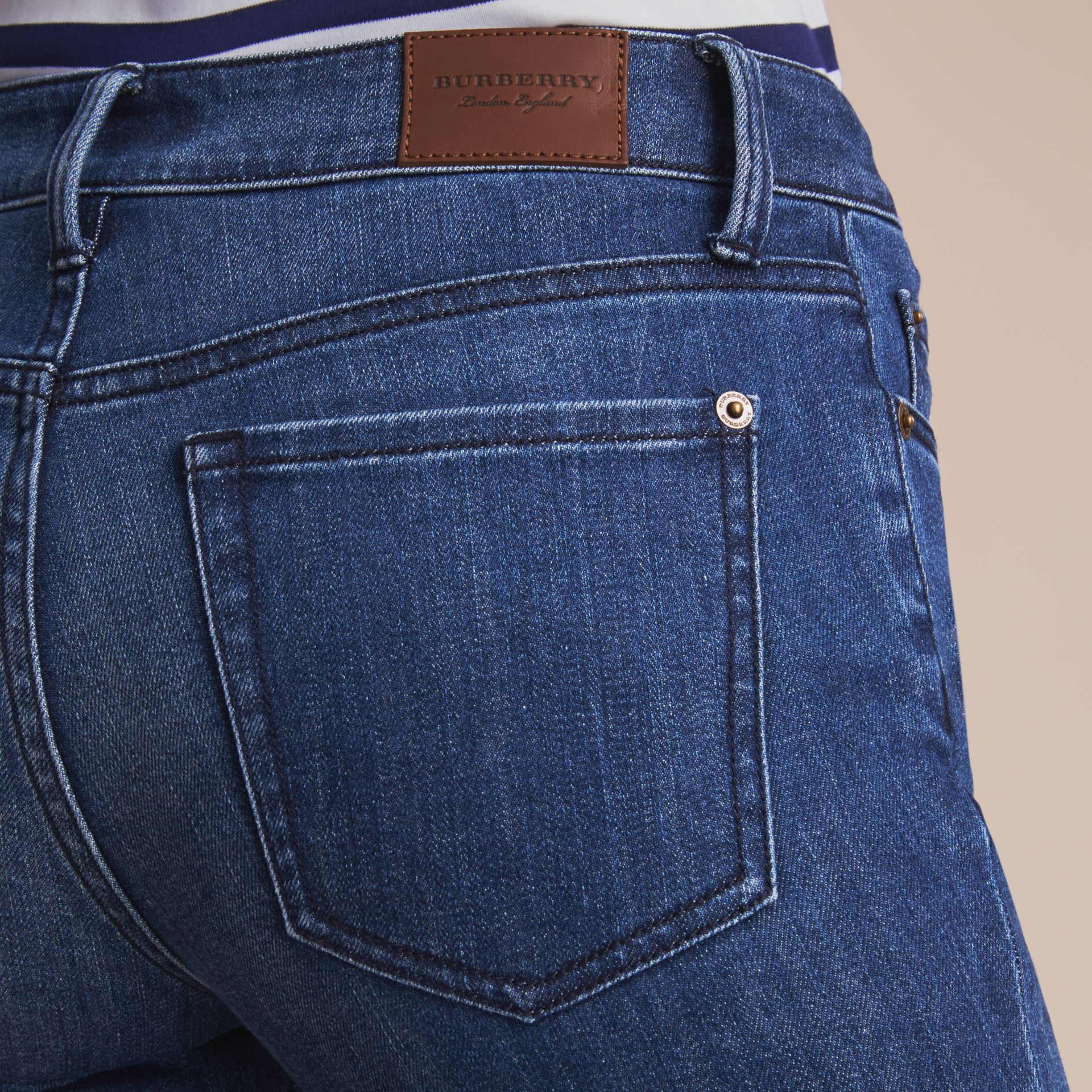 Skinny Fit Seam Detail Stretch Japanese Denim Jeans in Indigo - Women | Burberry - gallery image 5