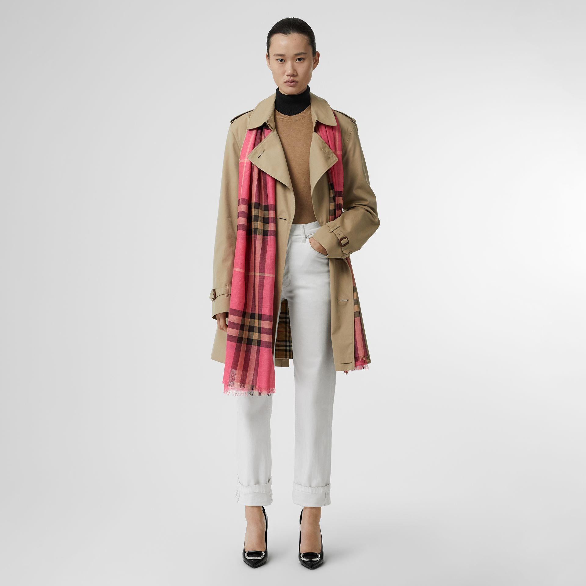 Lightweight Check Wool and Silk Scarf in Rose Pink | Burberry - gallery image 5