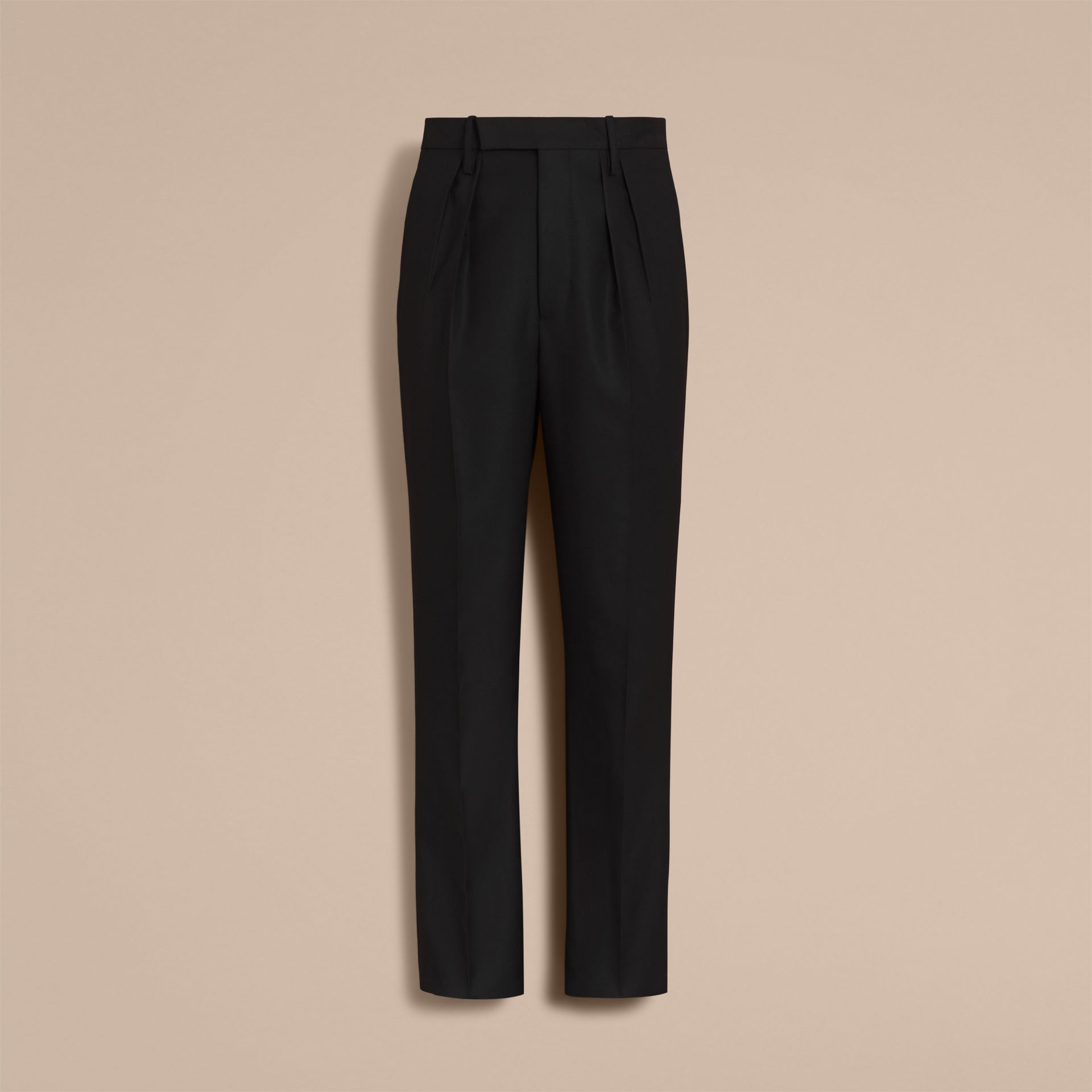 English Wool Mohair High-waist Tailored Trousers in Black - Men | Burberry - gallery image 3