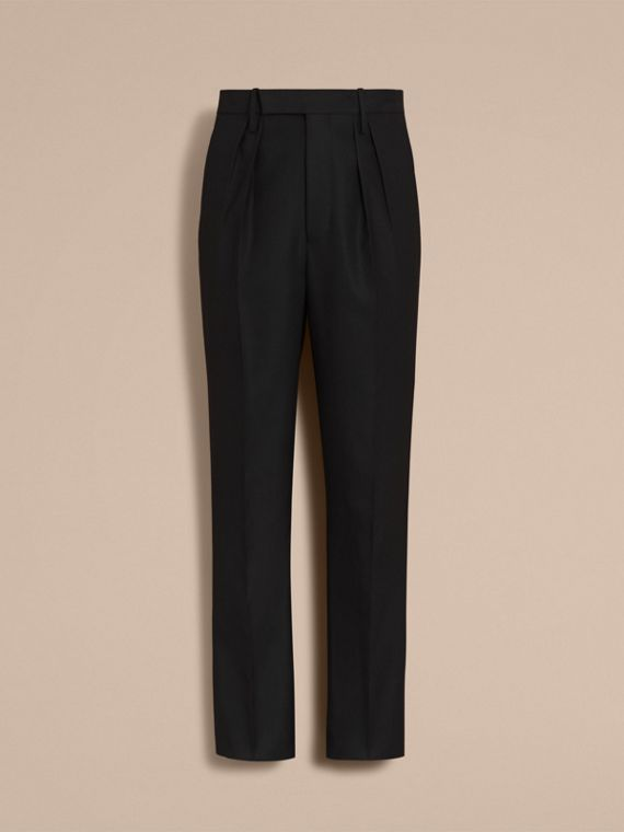 English Wool Mohair High-waist Tailored Trousers in Black - Men | Burberry Australia - cell image 3