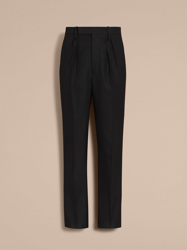 English Wool Mohair High-waist Tailored Trousers in Black - Men | Burberry United Kingdom - cell image 3