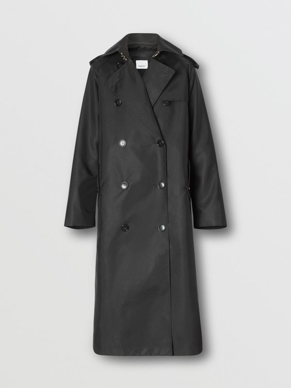ECONYL® Trench Coat with Detachable Leather Jacket in Black - Women | Burberry - cell image 3