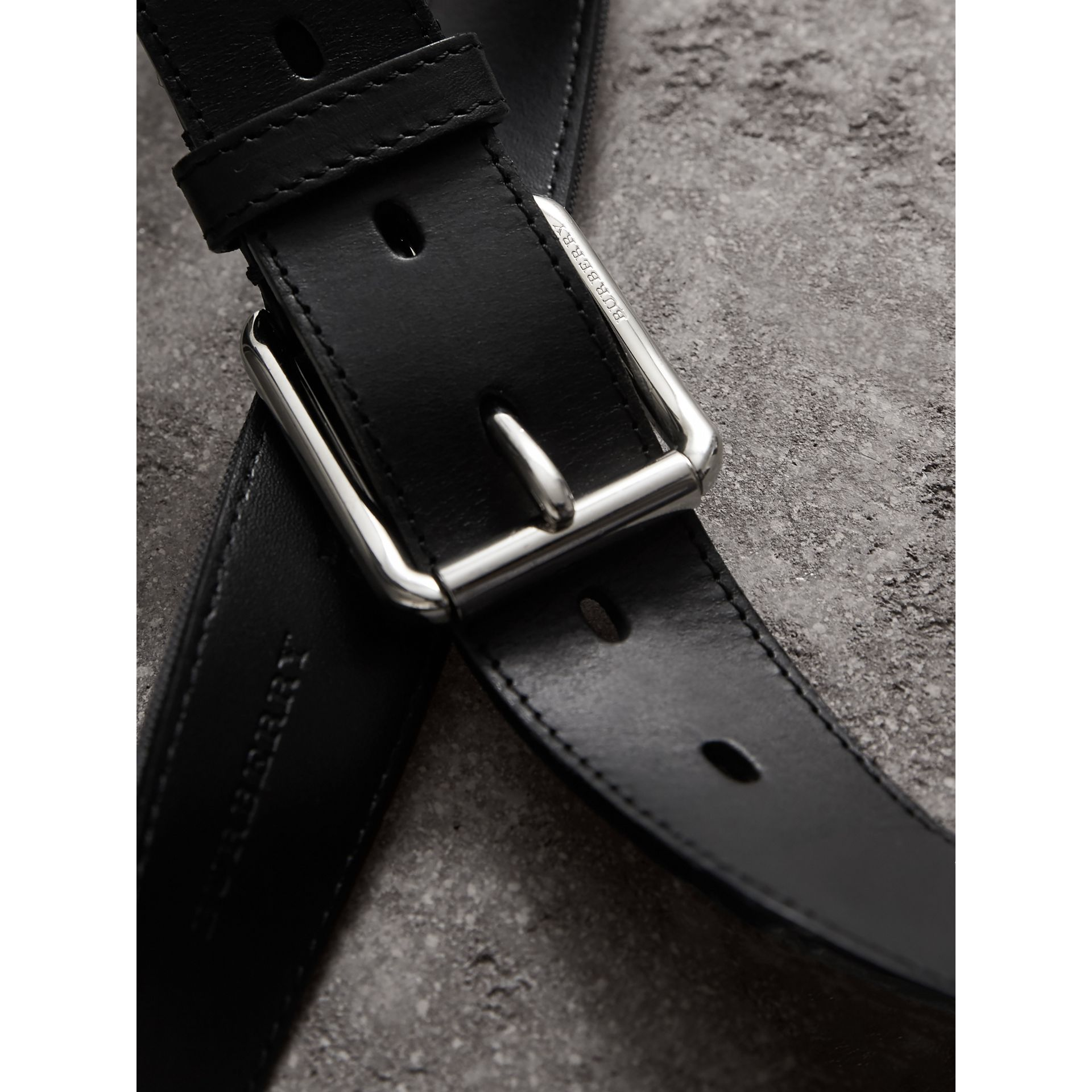 Horseferry Check and Leather Belt in Charcoal/black - Men | Burberry Singapore - gallery image 2