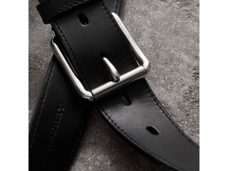 Horseferry Check and Leather Belt in Charcoal/black - Men | Burberry - cell image 1