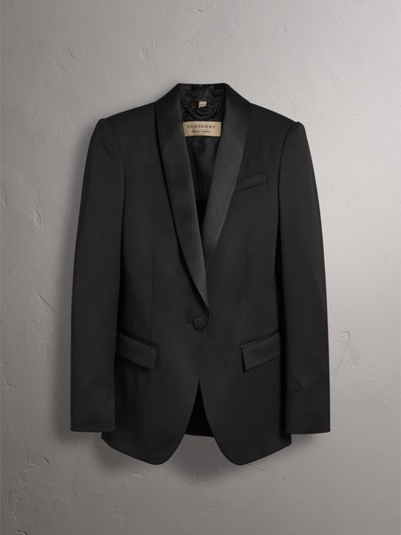 Stretch Wool Tuxedo Jacket in Black - Women | Burberry United Kingdom - cell image 3