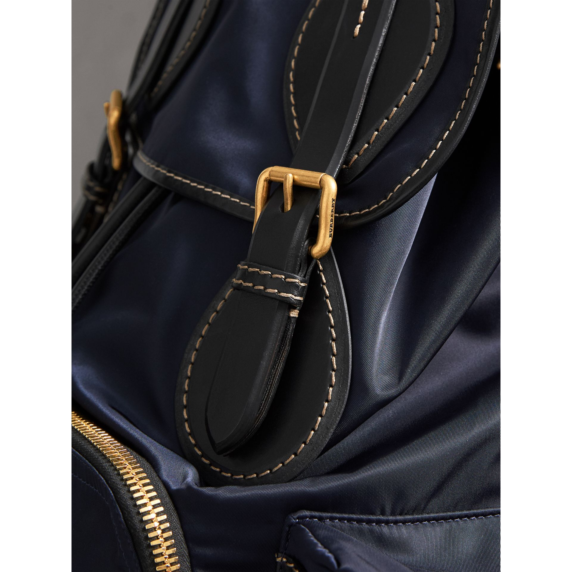 The Large Rucksack in Technical Nylon and Topstitched Leather in Dark Navy - Men | Burberry - gallery image 1