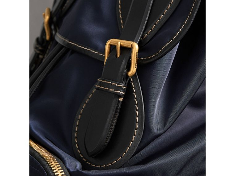 The Large Rucksack in Technical Nylon and Topstitched Leather in Dark Navy - Men | Burberry - cell image 1