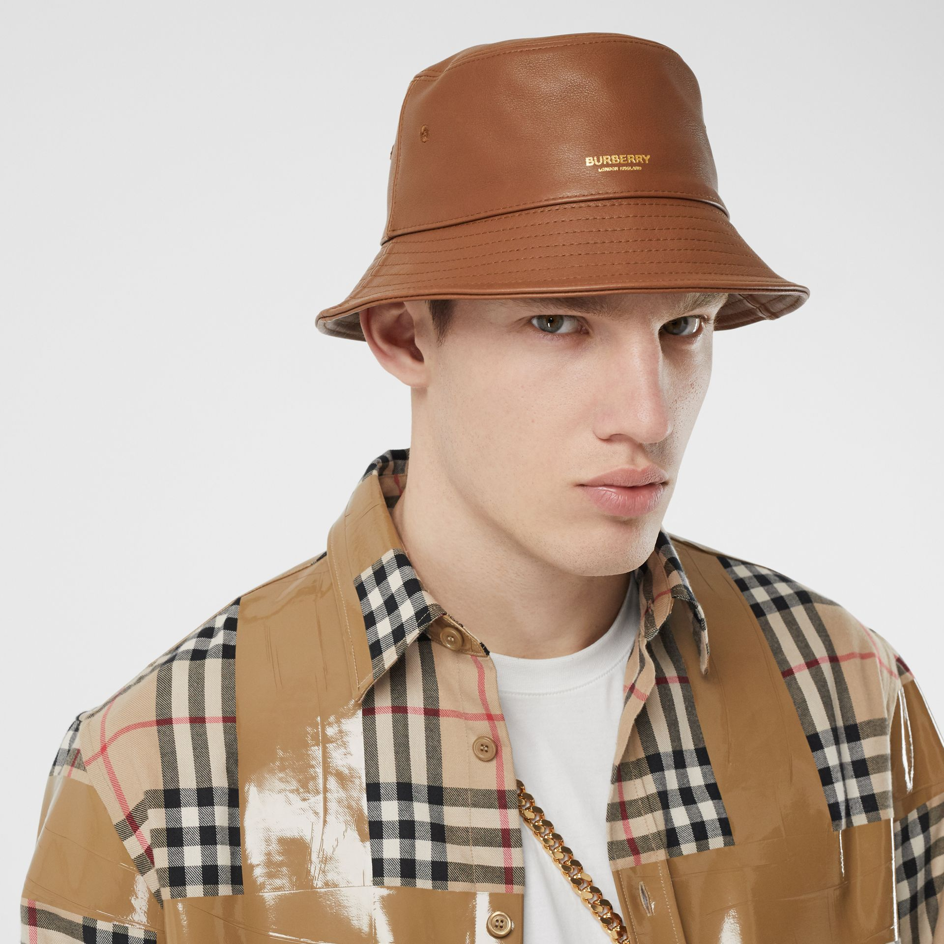 Logo Detail Leather Bucket Hat in Tan | Burberry United States - gallery image 3