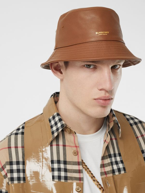 Logo Detail Leather Bucket Hat in Tan | Burberry United States - cell image 3