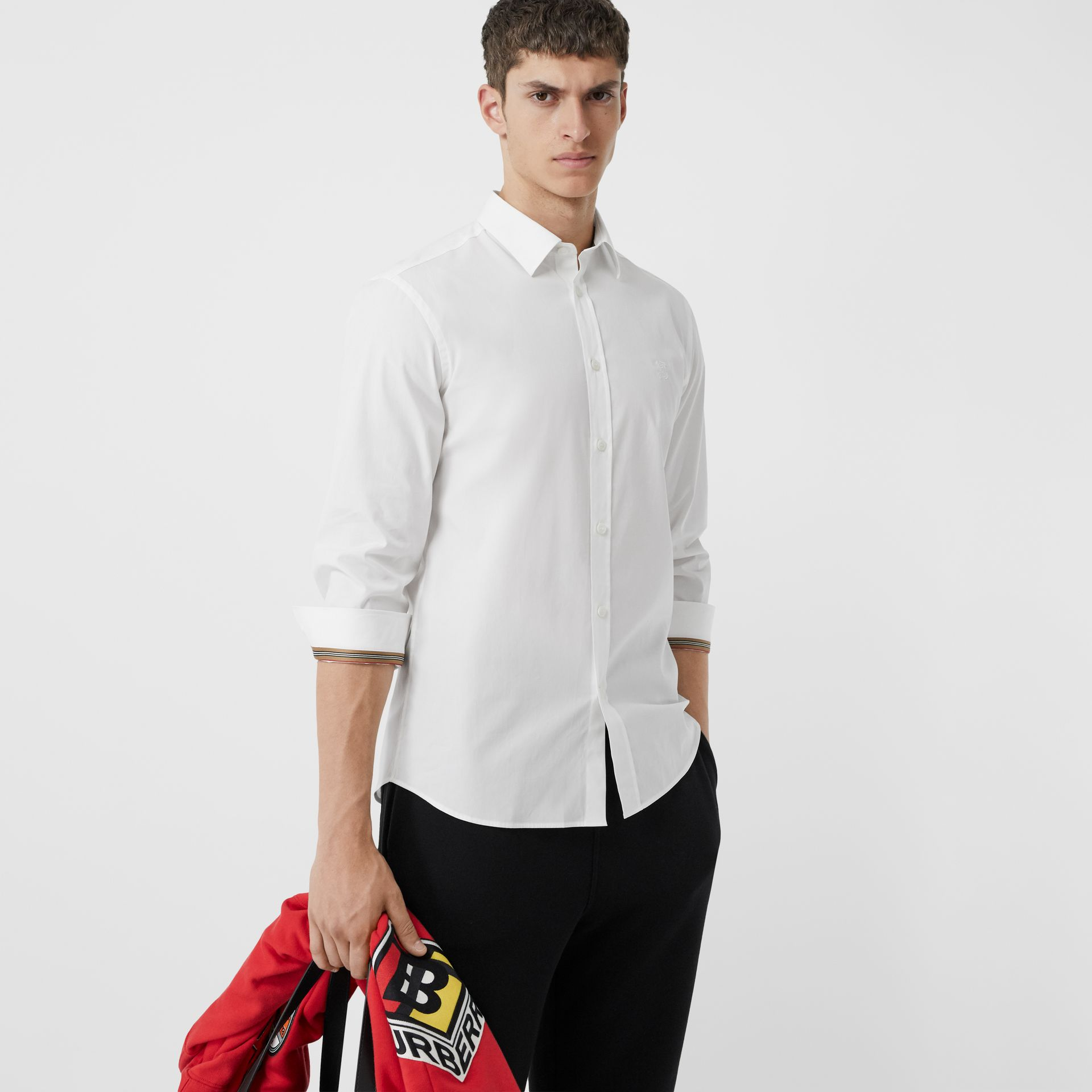 Monogram Motif Stretch Cotton Poplin Shirt in White - Men | Burberry - gallery image 5