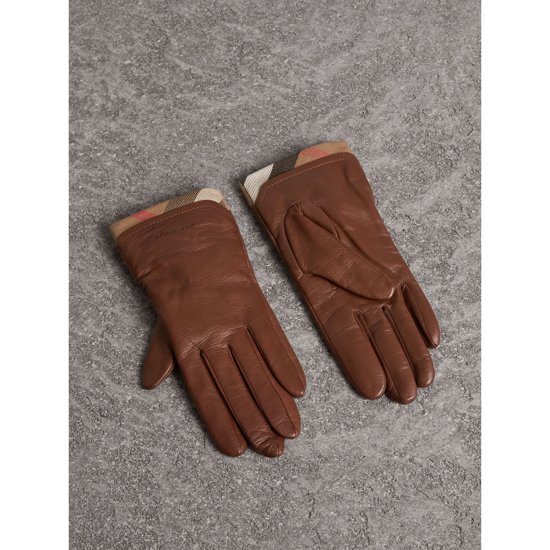 Check Trim Leather Touch Screen Gloves in Saddle Brown - Women | Burberry Singapore - gallery image 1