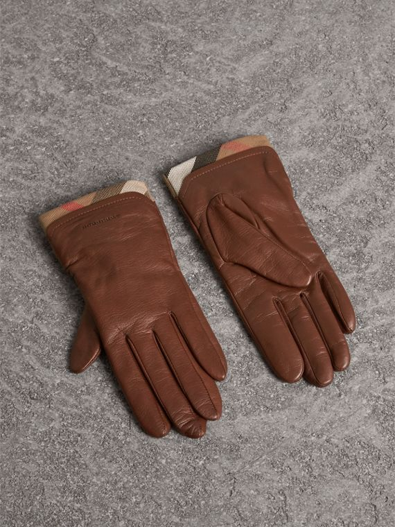 Check Trim Leather Touch Screen Gloves in Saddle Brown