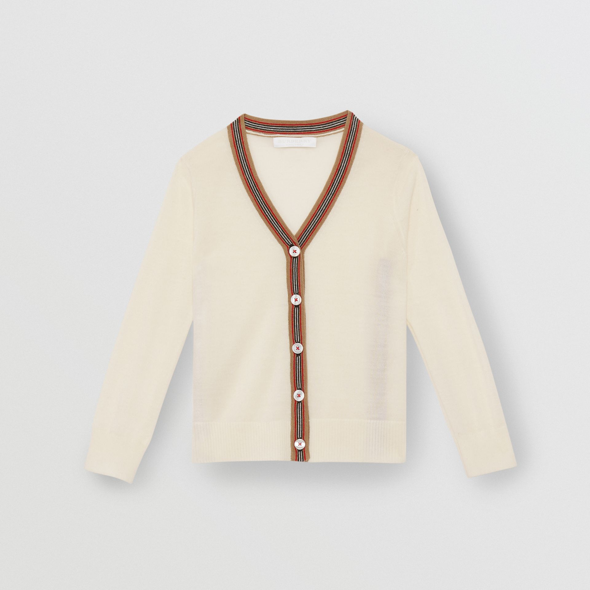 Icon Stripe Detail Merino Wool Cardigan in Ivory - Children | Burberry United Kingdom - gallery image 0