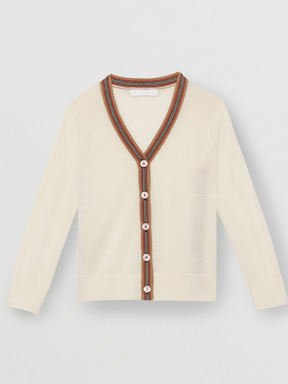 Icon Stripe Detail Merino Wool Cardigan in Ivory