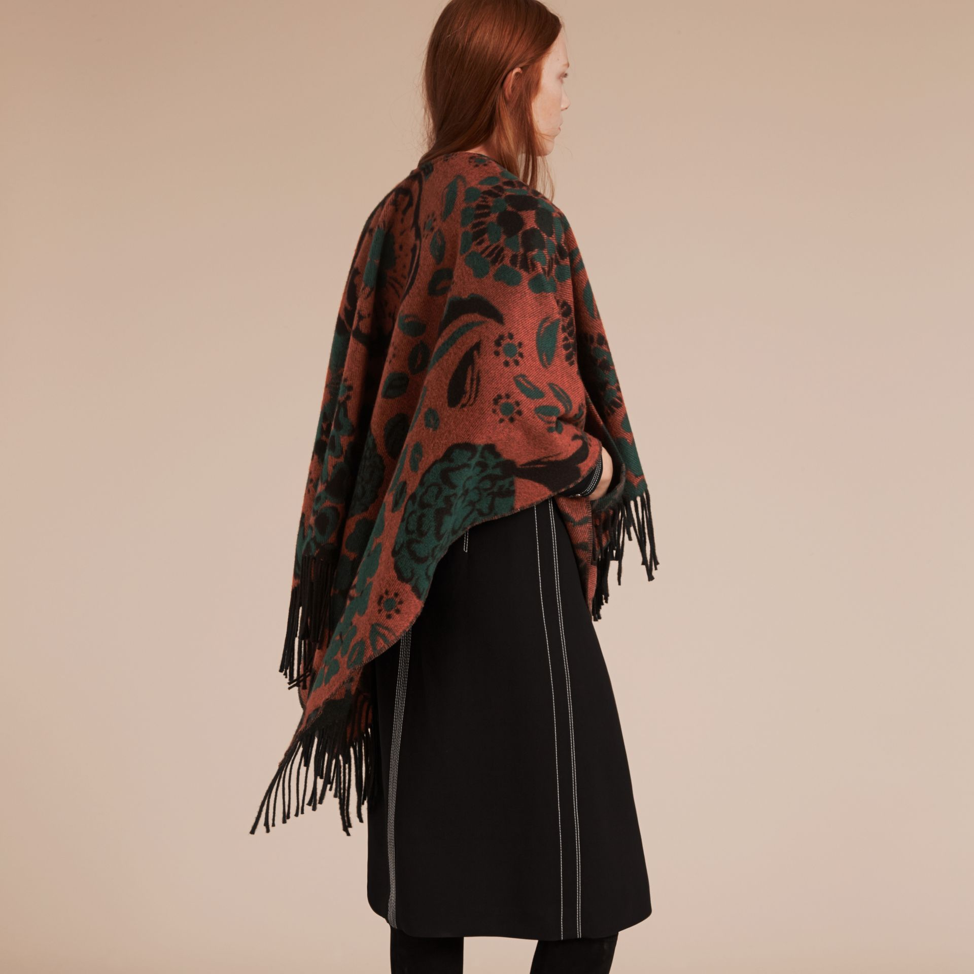Burnt sienna Floral Jacquard Cashmere Poncho - gallery image 3