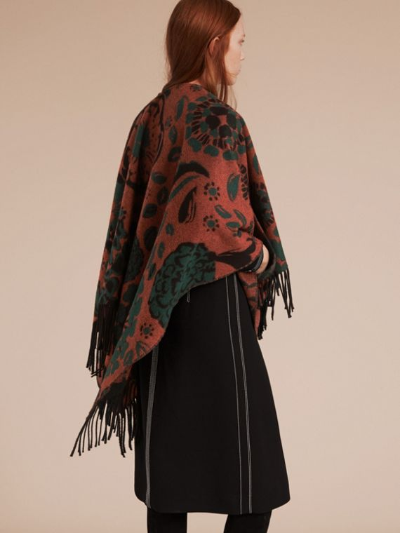 Burnt sienna Floral Jacquard Cashmere Poncho - cell image 2