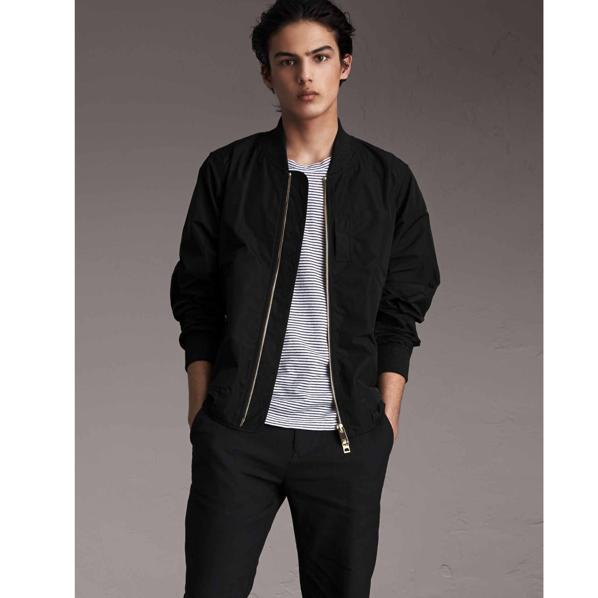 Shape-memory Taffeta Bomber Jacket in Black - Men | Burberry United Kingdom - gallery image 4