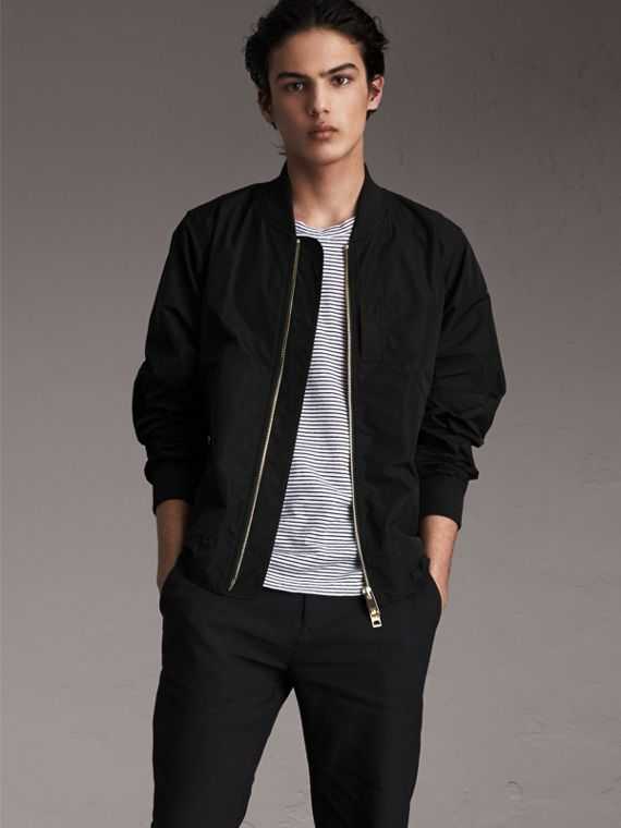 Shape-memory Taffeta Bomber Jacket in Black - Men | Burberry - cell image 3