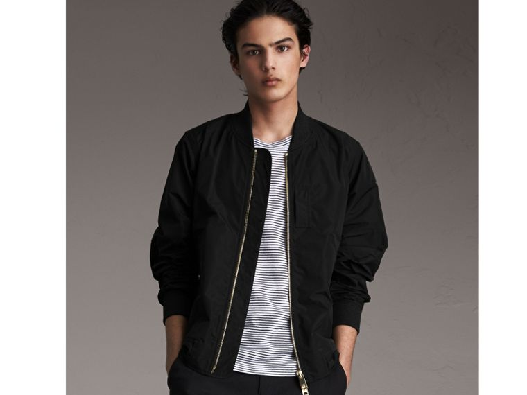 Shape-memory Taffeta Bomber Jacket in Black - Men | Burberry - cell image 4