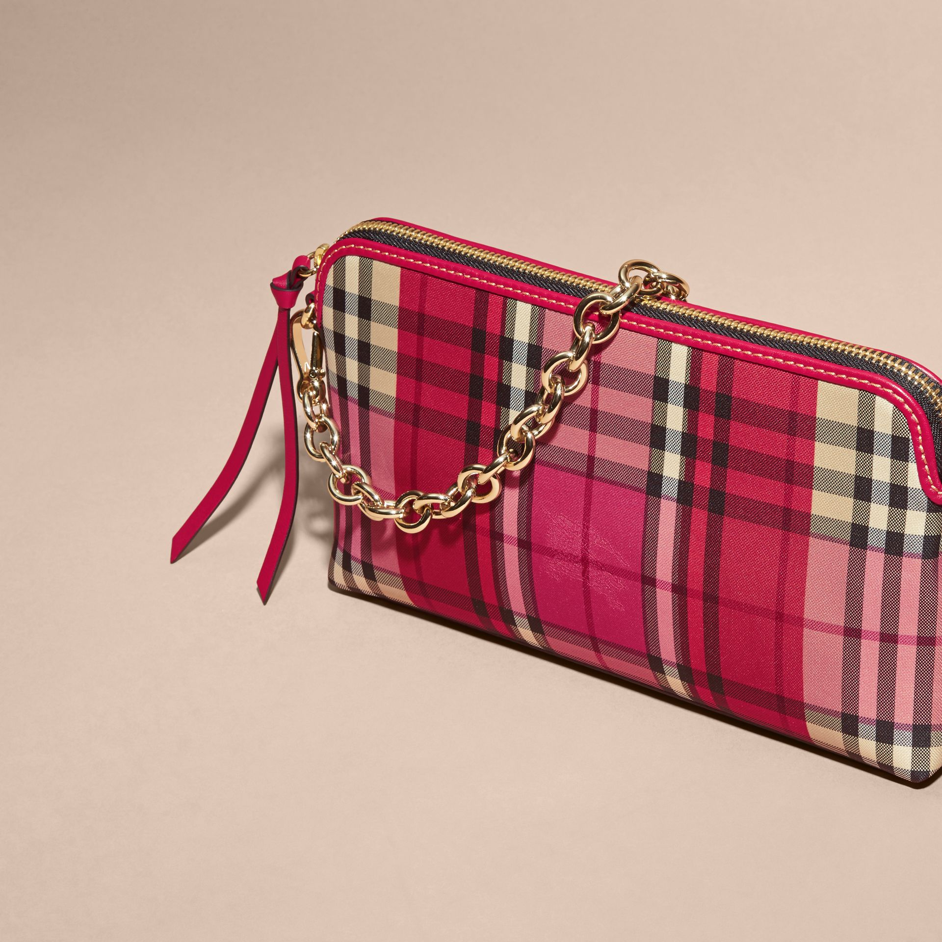 Overdyed Horseferry Check and Leather Clutch Bag - gallery image 8