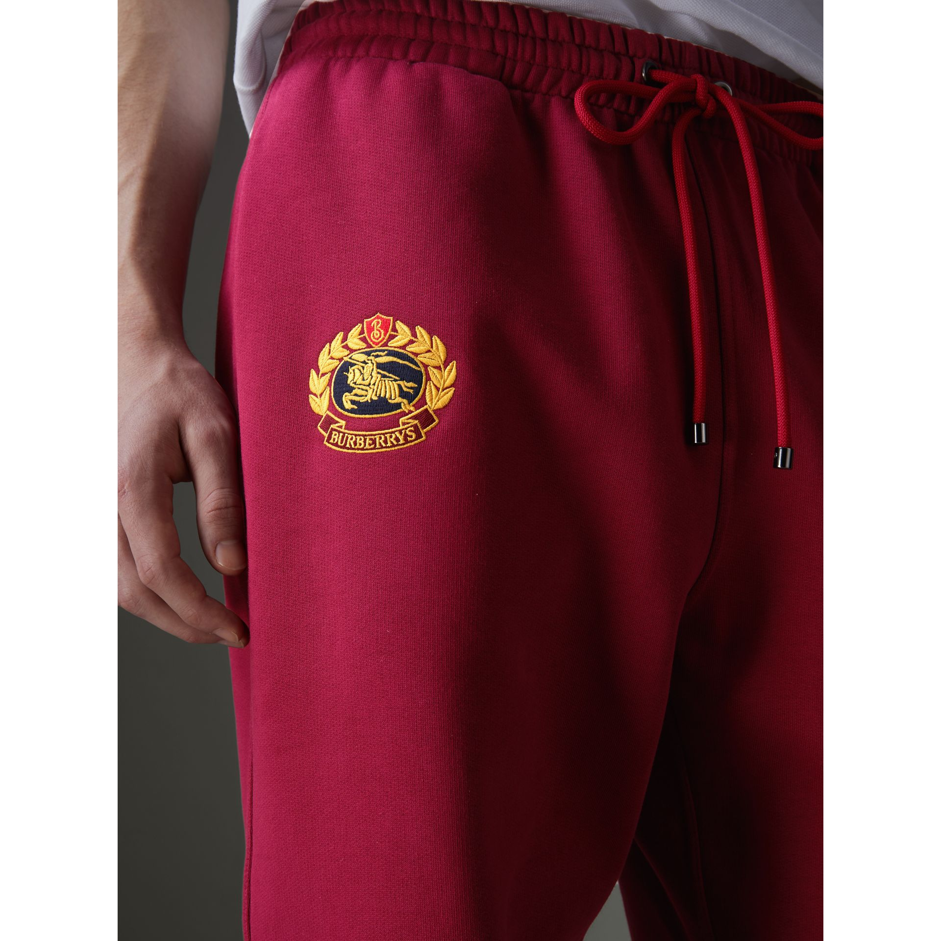 Archive Logo Jersey Sweatpants in Light Burgundy - Men | Burberry Singapore - gallery image 1