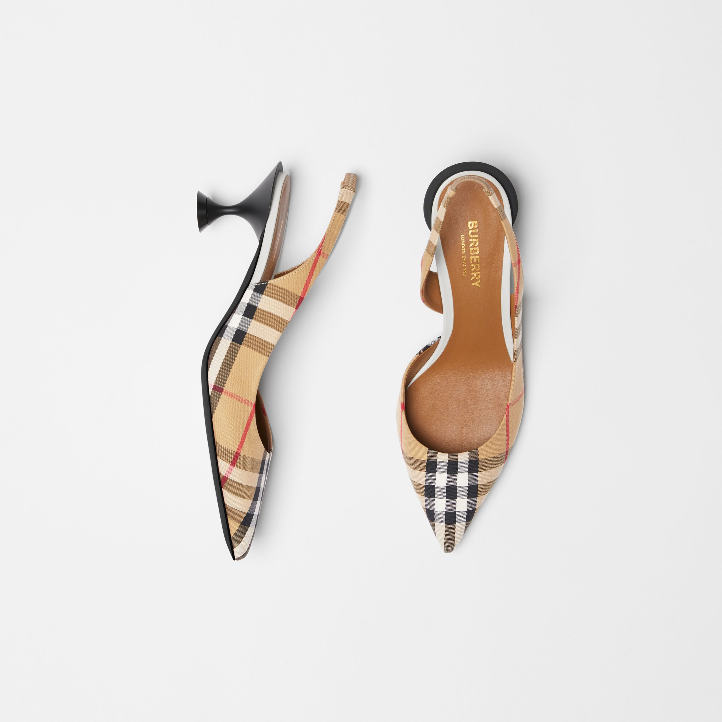 Vintage Check Slingback Pumps in Archive Beige | Burberry - 1